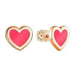 Серьги-пуссеты из красного золота с эмалью 000135770