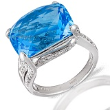Кольцо из белого золота Айрит с топазом и бриллиантами