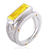 Эксклюзивное кольцо Geometry с цитрином и бриллиантами