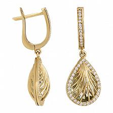 Золотые серьги Ундина с кварцем и кристаллами циркония