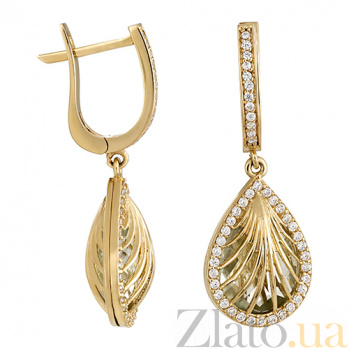 Золотые серьги Ундина с кварцем и кристаллами циркония 000023902