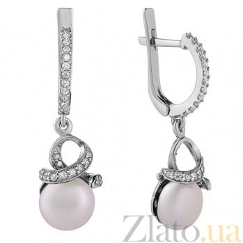 Серебряные серьги с жемчугом Канвалия 2179/9р б жем