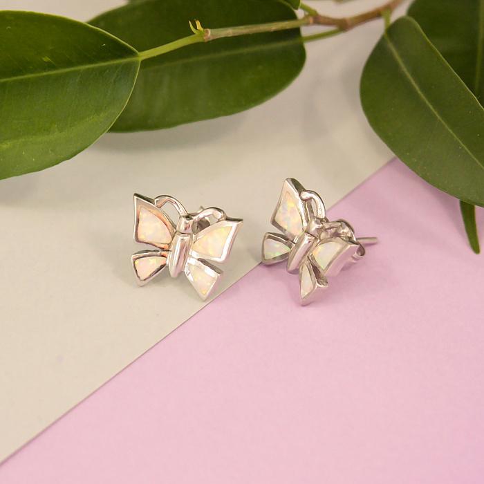 Серебряные серьги Лунные бабочки с белыми опалами