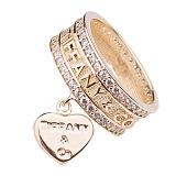 Золотое кольцо Прима с фианитами и подвеской в стиле Тиффани