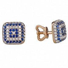 Золотые серьги-пуссеты с белыми и синими фианитами Вышиванка