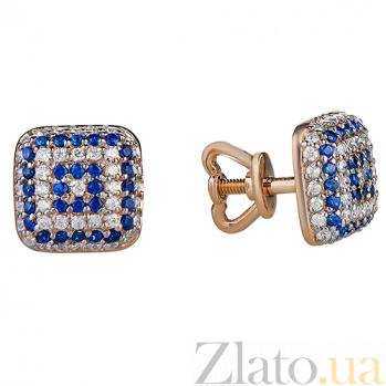 Золотые серьги-пуссеты с белыми и синими фианитами Вышиванка PTL--1с455/102
