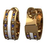 Золотые серьги Млечный путь с сапфирами, бриллиантами и эмалью