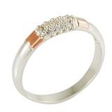 Серебряное кольцо с золотой вставкой и цирконием Лорен