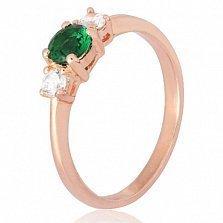 Позолоченное кольцо из серебра Динора с фианитами