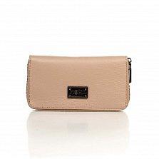 Кожаный кошелек Genuine Leather 1640 пудрового цвета на молнии с заклепками