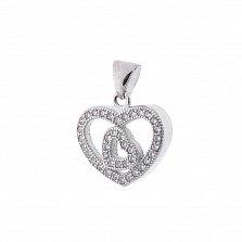 Серебряный подвес Double Heart с белым цирконием