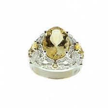 Золотое кольцо с бриллиантами и цитрином Elixir