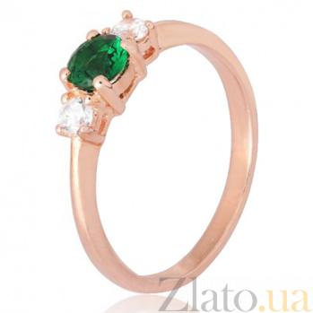 Позолоченное кольцо из серебра Динора с фианитами 000028213
