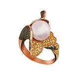 Кольцо из красного золота Ундина с жемчужиной и фианитами