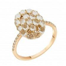Кольцо в красном золоте Аэлита с прозрачным топазом и бриллиантами
