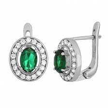 Серебряные серьги с зелеными фианитами Вистилия