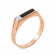 Золотое кольцо-печатка Ординар с фианитом и эмалью