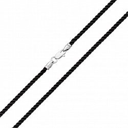 Черный крученый шелковый шнурок Дополнение с серебряной застежкой