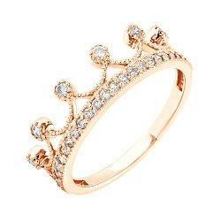 Кольцо-корона из красного золота с фианитами 000036414