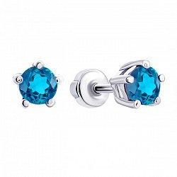 Серебряные серьги-пуссеты с голубыми swiss топазами, 5мм 000010940