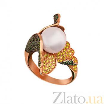 Кольцо из красного золота Ундина с жемчужиной и фианитами VLT--ТТ1099-2