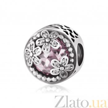 Серебряный шарм Волшебство с розовым и белым цирконием 000078619