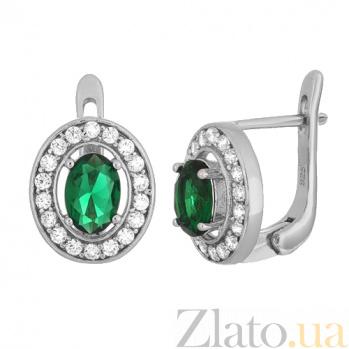 Серебряные серьги с зелеными фианитами Вистилия SLX--СК2ФИ/482