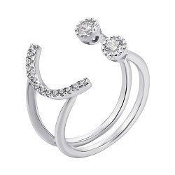 Серебряное разомкнутое кольцо с фианитами 000133098