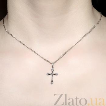 Золотой крестик с бриллиантами Мирное небо в белом цвете KBL--П224/бел/брил