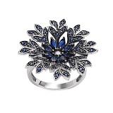 Золотое кольцо с бриллиантами и сапфирами Camilla