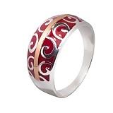 Серебряное кольцо с эмалью и золотой вставкой Августа