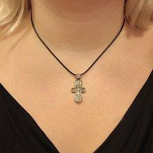 Серебряный крестик с чернением и позолотой Священный Оберег