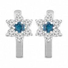 Серебряные серьги Астин с голубыми и белыми фианитами