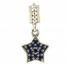 Серебряный шарм Звезда с синими фианитами