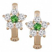 Золотые серьги Астра с белыми и зелеными фианитами