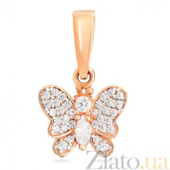 Золотая подвеска с цирконием Порхающая бабочка SUF--440467