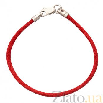 Шелковый браслет Модерн с серебряной застежкой 4009/кр
