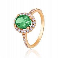 Золотое кольцо с изумрудом и бриллиантами Амбер