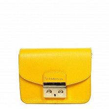 Кожаный клатч 1007 в лимонном цвете с металлическим замком и плечевым ремешком-цепочкой