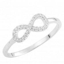 Серебряное кольцо Бесконечность с кристаллами циркония