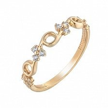Золотое кольцо Carmen в красном цвете с фианитами