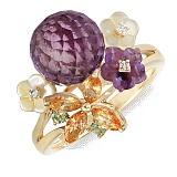 Золотое кольцо с аметистами, топазами, хризолитами, перламутром и бриллиантами Нежное соцветие