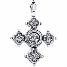 Серебряный крестик Блаженство чернёный