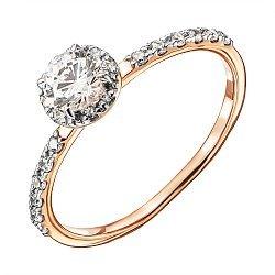 Кольцо в комбинированном цвете золота с фианитами и родированием 000135440