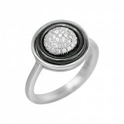 Серебряное кольцо Британи с черной керамикой и фианитами