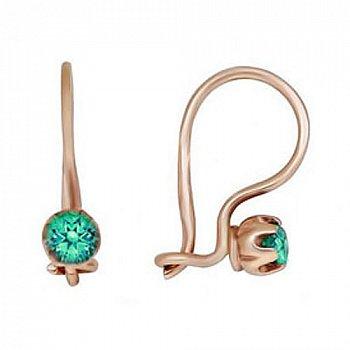 Детские золотые серьги с зелеными фианитами 000013776