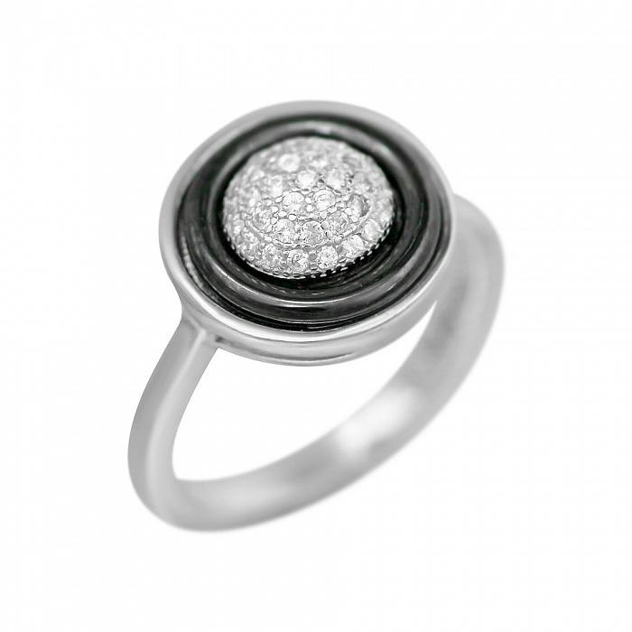 Серебряное кольцо Британи с черной керамикой и фианитами 000081537