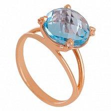 Золотое кольцо с топазом и фианитами Джозефина