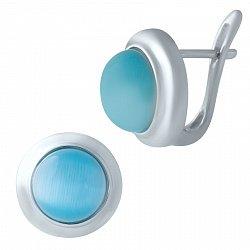 Серебряные серьги с голубым кошачьим глазом 000068904