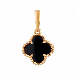 Золотой кулон Лина с черным агатом в стиле Ван Клиф, 9х9мм